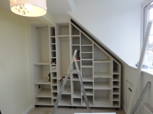 finished bookshelves cabinetry