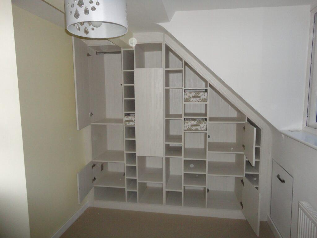bookshelves with doors