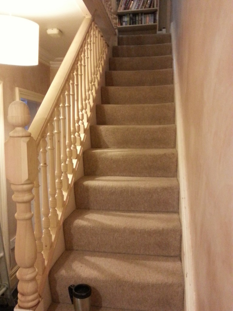 Stairs To The 2nd Floor Opened Up By Replacing Spindles, Banister & Newel Post