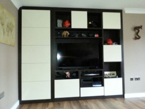 Finished TV Unit With Storage Under Stairs