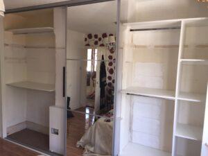 building the shelves for the 4 door sliding wardrobe