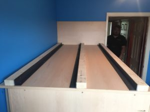 constructing the bed base for the high sleeper bed with desk and wardrobe