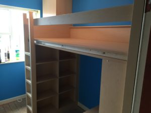high sleeper bed with desk and wardrobe almost finished