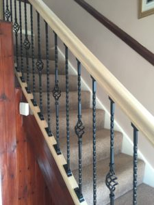 side view of new staircase with rail and spindles