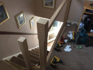 working on newells and rails for staircase