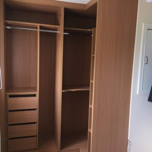 L-shaped wardrobe showing shelves and drawers nearly finishedJPG