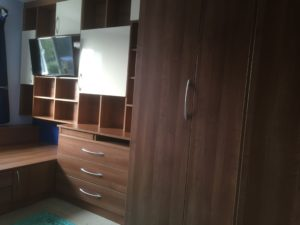 Cabin Bed Complete With Corner Wardrobe And Open Shelf TV Unit
