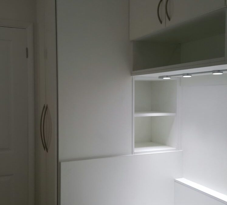 White Cabin Bed With Storage Including Wardrobe, Open Shelf Unit, Bridging Units And Desk